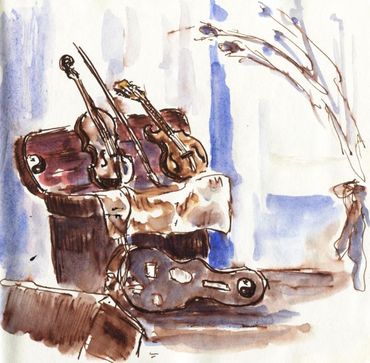 The mandolin/violin pod